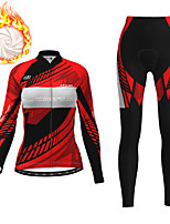 cheap -21Grams Women's Long Sleeve Cycling Jersey with Tights Winter Fleece Red Fuchsia Blue Bike Fleece Lining Breathable Warm Sports Graphic Mountain Bike MTB Road Bike Cycling Clothing Apparel / Stretchy