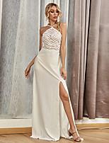 cheap -Sheath / Column Beautiful Back Sexy Prom Formal Evening Dress Halter Neck Sleeveless Floor Length Spandex with Split 2020
