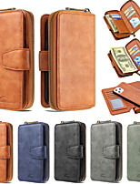 cheap -Case For Apple iPhone 12 / iPhone 12 Mini / iPhone 12 Pro Max Wallet / Card Holder / Shockproof Full Body Cases Solid Colored Genuine Leather