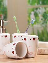 cheap -Bathroom Accessories Set 4 Piece Ceramic Complete Bathroom Set for Bath Decor Includes Toothbrush Holder Soap Dispenser Soap Dish 2 Mouthwash Cup Home & Hotel