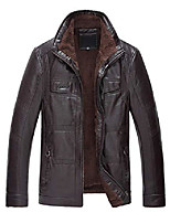 cheap -men's stand collar faux fur fleece lined pu leather shearling jacket (medium, coffee)