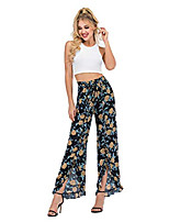 cheap -women's summer fashion wide leg slit ruffled elastic high waist boho hippie palazzo pants