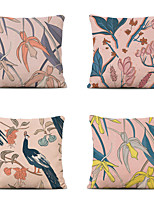 cheap -Cushion Cover 4PC Linen Soft Decorative Square Throw Pillow Cover Cushion Case Pillowcase for Sofa Bedroom 45 x 45 cm (18 x 18 Inch) Superior Quality Mashine Washable Flowers Bird Pattern