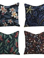 cheap -Set of 4 Linen Cotton / Linen Pillow Cover Pillowcase Sofa Cushion Square Throw Pillow Rainforest Colorful Beauty Flower Pillows Case 45*45cm