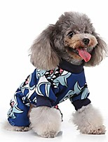 cheap -cartoon dog clothes for dogs cats shark print dog pullover with 4 legs pets apparel warm winter pullover for small dogs puppy kitten (l, blue)