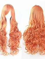 """cheap -32"""" womens long spiral curly synthetic orange wig girl's anime cosplay costume halloween party wig"""