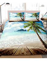 cheap -3D Digital Print Duvet Cover Set Blue Beach Bedding Coastal Nature Theme Pattern Boys Girls Bedding Sets Queen Include 1 Duvet Cover and 1 or 2 Pillowcases
