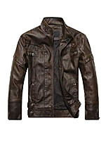 cheap -men's faux leather jacket vintage stand collar motorcycle pu leather outwear coat coffee m