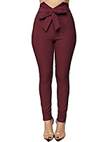 cheap -women's v cut paper bag waist pants trousers with front bow tie winered small