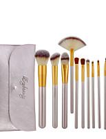 cheap -12 Pcs beige makeup brushes beige bag champagne makeup brush set makeup