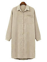 cheap -Women's Single Breasted Coat Long Solid Colored Daily Basic Brown Beige XL XXL 3XL 4XL