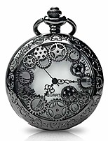 cheap -vintage pocket watch with chains necklace,steampunk gear hollow quartz pocket watches for men women xmas birthday gift present