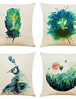 cheap -Set of 4 Verdant Art Linen Square Decorative Throw Pillow Cases Sofa Cushion Covers 18x18