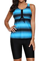 cheap -Women's Tankini Nylon Elastane Swimwear Breathable Quick Dry Sleeveless 2-Piece - Swimming Surfing Water Sports Painting Summer / Stretchy