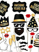 cheap -diy happy birthday props for photo booth stand - suitable for his or hers party celebration (34 count, black and gold kit)