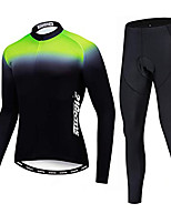 cheap -21Grams Men's Long Sleeve Cycling Jersey with Tights Winter Fleece Black Gradient Bike Fleece Lining Breathable Sports Gradient Mountain Bike MTB Road Bike Cycling Clothing Apparel / Stretchy