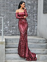 cheap -Mermaid / Trumpet Vintage Sexy Wedding Guest Prom Dress Off Shoulder Long Sleeve Court Train Spandex with Sequin 2020