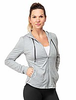 cheap -women's full zip stretch hoodie - spandex activewear with upf 50 uv sun protection - lighweight hooded sweatshirt for the gym, yoga and outdoors grey