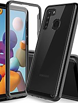 cheap -samsung galaxy a21 case with built in screen protector, [heavy duty protection] [crystal clear] armor shockproof tpu bumper protective phone cover