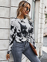 cheap -Women's T-shirt Tie Dye Long Sleeve Print Round Neck Tops Loose Cotton Basic Basic Top Black Blue