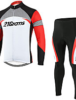 cheap -21Grams Men's Long Sleeve Cycling Jersey with Tights Winter Fleece Polyester Red / White Patchwork Bike Clothing Suit Fleece Lining Breathable 3D Pad Quick Dry Warm Sports Patchwork Mountain Bike MTB