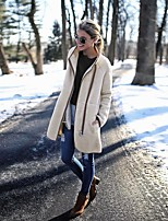 cheap -Women's Fall & Winter Zipper Stand Collar Teddy Coat Regular Solid Colored Daily Basic Beige S M L XL