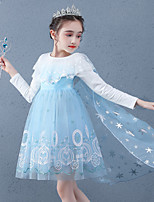 cheap -Princess Cosplay Costume Masquerade Girls' Movie Cosplay A-Line Slip Vacation Blue / Pink Dress Cloak Halloween Children's Day Masquerade Organza Cotton