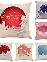 cheap -Set of 6 Simple Christmas Linen Square Decorative Throw Pillow Cases Sofa Cushion Covers 18x18