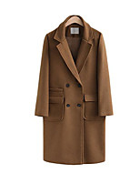 cheap -Women's Fall & Winter Coat Long Solid Colored Daily Active Wool Black Brown Gray S M L XL