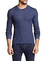 cheap -men's long sleeve luxurious premium designer slim waffle knit cotton warm crew neck long sleeve ,navy heather,medium