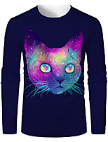 cheap -Men's 3D Graphic Animal T-shirt Print Long Sleeve Daily Tops Round Neck Rainbow