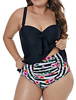 cheap -Women's Tankini Nylon Elastane Swimwear Breathable Quick Dry Sleeveless 2-Piece - Swimming Surfing Water Sports Painting Summer / Stretchy / Plus Size