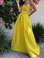 cheap -A-Line Minimalist Sexy Wedding Guest Formal Evening Dress Strapless Sleeveless Floor Length Satin with Sleek 2020