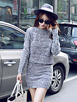 cheap -Women's Solid Color Two Piece Set Sweater Skirt Tops / Loose