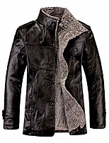 cheap -men's faux leather jacket vintage stand collar motorcycle pu outwear button military casual windbreaker coat (black,medium)
