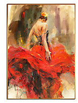 cheap -Oil Painting Hand Painted - Abstract People Comtemporary Modern Rolled Canvas (No Frame)