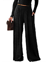 cheap -womens pleated palazzo pants elastic wiasted wide leg ribbed stretchy lounge pants black small