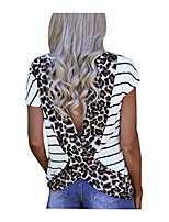 cheap -women open back blouse stripe leopard printed short sleeve t shirt casual summer tee top (leopard, m)