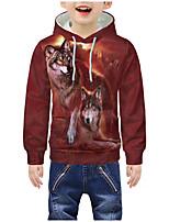 cheap -Kids Boys' Active 3D Graphic Animal Print Long Sleeve Hoodie & Sweatshirt Red