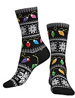 cheap -Crew Socks Compression Socks Calf Socks Athletic Sports Socks Cycling Socks Men's Women's Bike / Cycling Breathable Soft Comfortable 1 Pair Graphic Santa Claus Cotton Black S M L / Stretchy