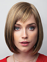 cheap -Synthetic Wig Straight With Bangs Wig Short Light Brown Dark Brown Synthetic Hair Women's Fashionable Design Exquisite Comfy Brown