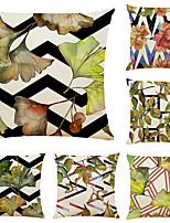 cheap -Set of 6 Art Geometric Plant Linen Square Decorative Throw Pillow Cases Sofa Cushion Covers 18x18
