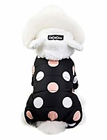 cheap -polka dot pets down jacket for dogs cats, quilted padded pets jacket with ear hooded winter cute dogs cat pets clothes for puppy kitten (2xl, black)