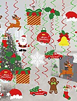 cheap -christmas decorations, 36 pcs xmas holiday hanging swirls decoration, snowman snowflake ceiling hanging decor for christmas party supplies xmas decor