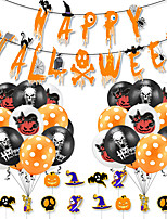 cheap -Party Balloons 34 pcs Skull Pumpkin Halloween Party Supplies Latex Balloons Banner Boys and Girls Party Decoration for Party Favors Supplies or Home Decoration