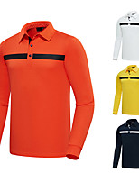 cheap -Men's Golf Polo Shirts Long Sleeve Autumn / Fall Spring Winter UV Sun Protection Breathable Quick Dry Cotton White Yellow Orange Royal Blue / Stretchy