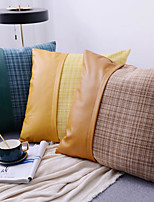 cheap -Home Modern Minimalist Grid Nordic Leather Pillowcase Color Cotton Stitching Woven Cushion Cover