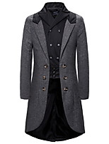 cheap -Plague Doctor Retro Vintage Steampunk Coat Masquerade Tuxedo Men's Costume Gray Vintage Cosplay Halloween Masquerade Long Sleeve