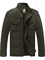 cheap -men's fall casual cotton jackets slim fit, army green, m