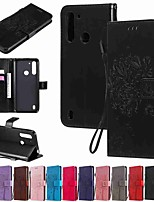 cheap -Case For Motorola MOTO E6S (2020) MOTO E6 plus MOTO G8PLAY Wallet Card Holder with Stand Full Body Cases Solid Colored Cat and Tree PU Leather TPU for Moto G8 Power Lite Moto G Power Moto E7